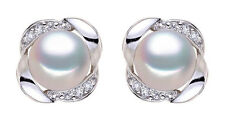 925 SILVER & 9mm AAA GRADED WHITE FRESHWATER PEARL/CUBIC ZIRCONIA STUD EARRINGS