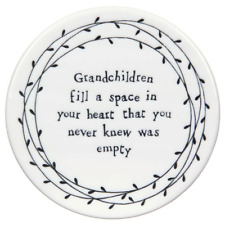 East of India Grandchildren Fill A Space Porcelain Leaf Coaster Grandparent Gift