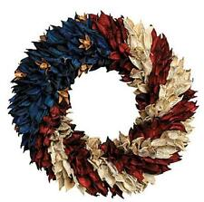 """July 4th Patriotic American Flag Floral Wreath for Door Wall Centerpiece 11""""dia"""