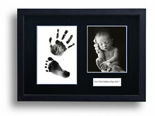 Personalised Fathers Day Hand Print Footprint Kit Baby Gift Black Frame & Mount