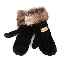 Aran Traditions Womens Ladies Winter Warm Faux Fur Mittens Gloves