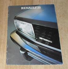 Renault 20 Brochure Circa 1980 - 1.7 TL - 2.0 LS - 2.0 TS