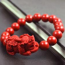 10MM Natural Cinnabar Pixiu Dragon Bracelet Lucky Amulet Wristband Jewelry Set
