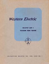 Complete Manual  Western Electric KS-5727L1 Tube Tester  KS-5727-L1