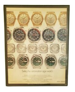 """Vintage Seiko 1970s Advertisement 6139 Pogue Pepsi dial includes 11x14"""" Framed"""