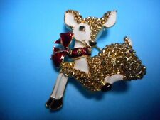 Crystal Christmas Pin / Brooch Wow beautiful Vintage Christmas Deer With
