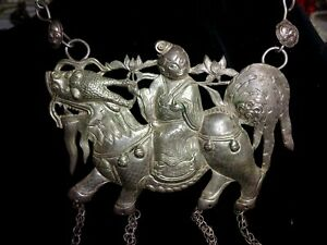 An Antique Chinese Huge Silver Qilin Charm Pendant Necklace