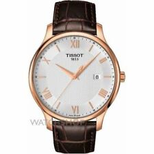 TISSOT T0636103603800 tradición Cuero Hombre Suizo Reloj Plata Esfera