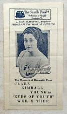 """1919 RUDOLPH VALENTINO Silent Movie Flyer """"Eyes of Youth"""" Clara Kimball Young"""
