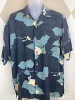 Tommy Bahama Mens Med 100% Silk Camp Aloha Shirt Gray Floral Leaves