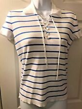 Womens New RALPH LAUREN Golf Island Blue White Sweater Knit Polo Shirt Lace Sz S