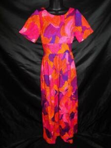 Vintage 60s Harriets XS Purple Pink Orange Floral Hawaiian Dress Empire Midi USA