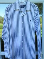 Polo Ralph Lauren Cotton Black White Striped Pony Classic Fit Casual Shirt Large