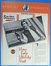 BANTHA TRACKS fan club CATALOG '85  vtg Star Wars Special Produces HAN SOLO vest