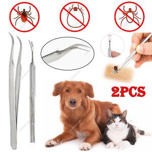 2x Tick Remover Pet Dog Cat Human Stainless Steel Tweezer Clip Treatment Tool
