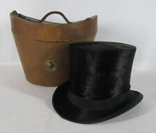 Antique Top Hat KNOX New York Black Beaver Skin Fur & Silk w/Leather Hat Box yqz