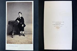 Vaillat, Paris, Jeune écolier Vintage cdv albumen print Tirage albuminé  6,5
