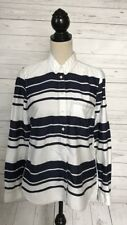 Gap Navy/White Stripe Button Front The Tailored Shirt ~Medium