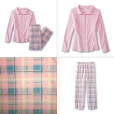 Plus Size 3X Pajamas Women Winter Plush Fleece Pink/Blue Zip Top Plaid Christmas