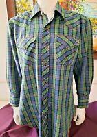 H Bar C Mens Vintage Cowboy Western CA Ranchwear Pearl Snap Plaid shirt 16-32