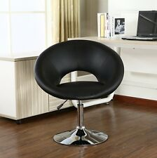 Roundhill Furniture Contemporary Chrome Adjustable Swivel Chair With Black Seat