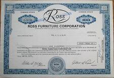 Ross Furniture Corp. 1975 Stock Certificate - Pennsylvania PA Penn / UGM Corp.