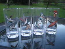 "Set of 4 Michael Mont Wild Bird Glasses 5.75"" Tall four for one price Vintage"