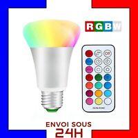 10W Ampoule LED RGBW Rouge Vert Bleu et Blanc E27 Couleur avec télécommande A+