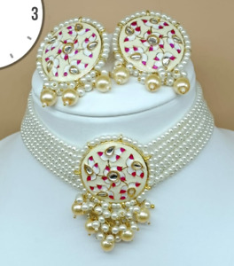 Indian Bollywood Gold Plated Kundan Pearl Choker Necklace Earrings Jewelry Set