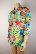 Mens Vtg 70s Style Disco Crazy Floral Colourful Festival Cotton Shirt L to XL