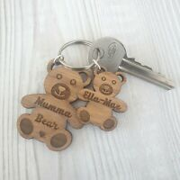 Personalised Mothers Day Keyring Gift for Mum Nanny Mummy Wooden Gift Bear Oak