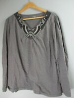 St.John's Bay Women's Size 1X 100% Cotton Solid Gray Long Sleeve V-Neck Blouse