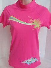 Ladies Teen Neon Pink Body Glove Rashguard Top UVA Sun Protection Floral Mod XS