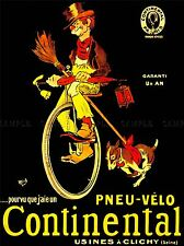 ADVERT CONTINENTAL TIRE BICYCLE UNICYCLE DOG CLOWN ART POSTER PRINT LV119