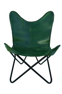 Leather Butterfly chair,Living Room Furniture Décor With Green leather Cove