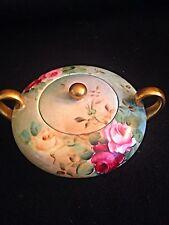 Belleek american Willets Hand Painted Roses Gold Trim Sugar Bowl W-Lid