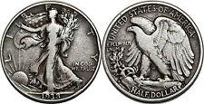 ETATS UNIS HALF DOLLARS 1938 D LIBERTY WALKING