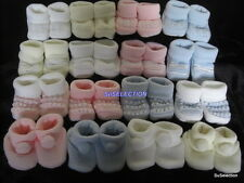 BABY GIRL/BOY UNISEX KNITTED BOOTIES-4 LOVELY DESIGNS & COLOURS-LOVELY GIFT-NEW