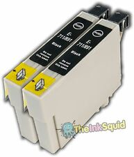 2 Black T0711 Cheetah Ink Cartridges (non-oem) fits Epson Stylus B40W BX300F