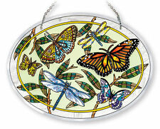 """AMIA STAINED GLASS SUNCATCHER  9"""" X 6.5"""" OVAL PAPILLIONS BUTTERFLY #42024"""