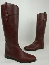 Burberry Copse House Check Print Burgundy Flat Tall Boots Booties Size 38.5