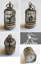 Pendentif cage à oiseau en argent massif + émail Bijou ancien