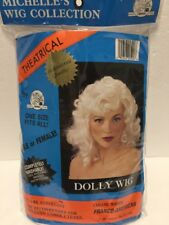 Theatrical Ladies Long Curly Dolly Wig Synthetic Mesh Cap Washable