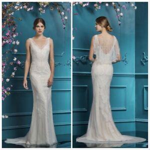 Ellis Bridal 18084A Ivory Feather beaded embroidery Soft Tulle Dress UK Size 14