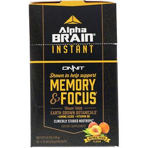 Onnit  Alpha Brain Instant Natural Peach Memory & Focus Powder  - 30 ct