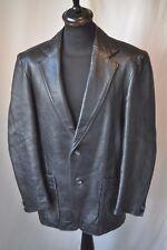 Vintage 1970's Glenhusky heavy duty black leather roxy jacket size XL punk mod
