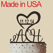 """Initial Cake Topper,Personalized Wedding Cake Topper, Acrylic, Made in USA 5"""""""