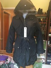 Ladies Black Belted Faux Fur Lined weather coat winter sz. M. FITS LIKE A SMALL!