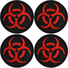 4x PVC Morale Patch Bio-hazard Red Black 3D Badge Hook #16