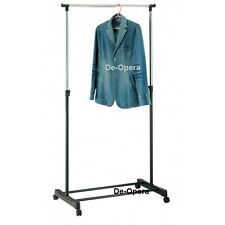 ADJUSTABLE MOBILE CLOTHES GARMENT COAT HANGING RAIL RACK STAND ON WHEELS STORAGE